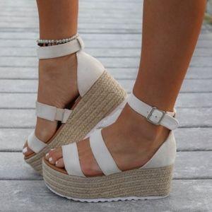 Shoes - Nude 3 Strap Espadrille Sandal